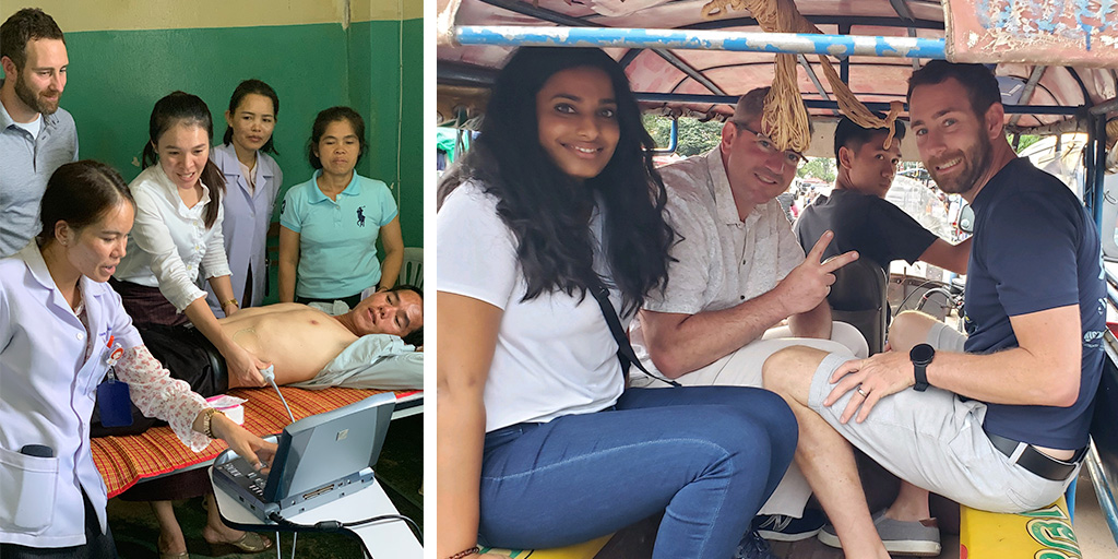 Dr. Jeff Dan teaching clinicians about ultrasound in Laos; Dr. Jeff Dan and friends riding a jumbo taxi in Vientiane, Laos