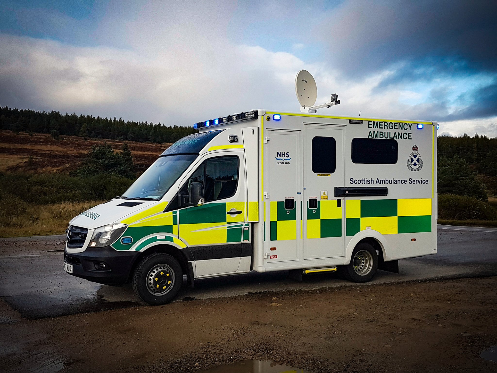 Scottish Ambulance with Satellite Uplink for Remote Imaging Diagnostics