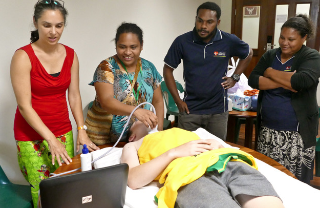 Clinician using SonoSite ultrasound in Papua New Guinea