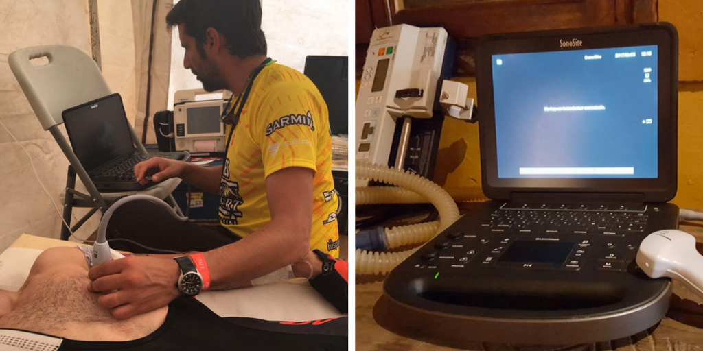 FUJIFILM SonoSite provided an Edge II portable point-of-care ultrasound system to Dr. Bausili's team for use in attending to injured race participants.
