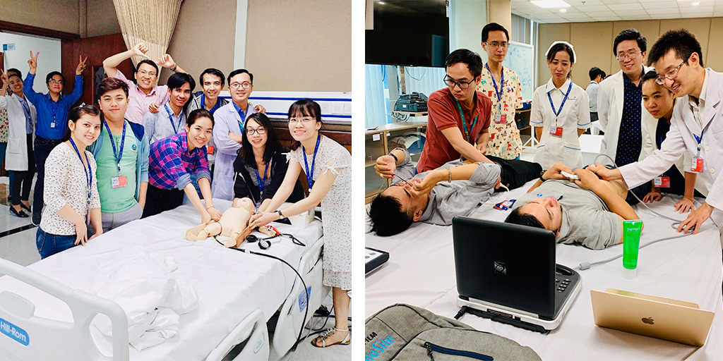 Clinicians in Vietnam in ultrasound training course