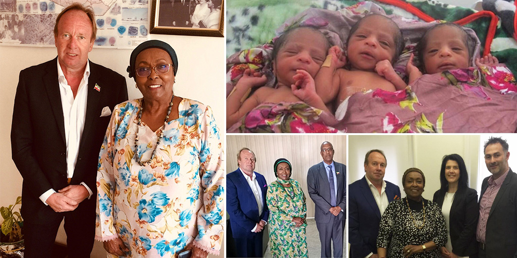 Edna Aden with various hospital officials. Three babies in a hospital.