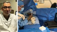 Dr. Alexandros Mallios. Dr. Mallios performing an ultrasound scan.